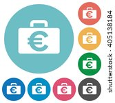 flat euro bag icon set on round ...