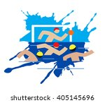 water polo players. four water... | Shutterstock .eps vector #405145696