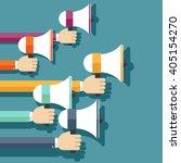 people hands holding megaphones.... | Shutterstock .eps vector #405154270