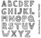 vector unusual alphabet doodle... | Shutterstock .eps vector #405178480