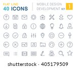 set vector line icons mobile...