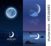 moonlight vertical banner set... | Shutterstock .eps vector #405186883