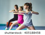 girls and instructor or mother... | Shutterstock . vector #405188458