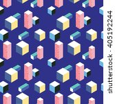 3d isometric 80s style seamless ... | Shutterstock .eps vector #405192244