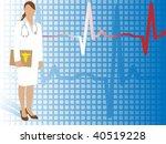 medical doctor with ekg  ... | Shutterstock .eps vector #40519228