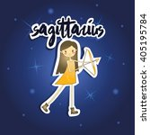 cartoon sagittarius girl on... | Shutterstock .eps vector #405195784