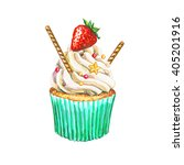 watercolor cupcake. watercolor... | Shutterstock . vector #405201916