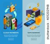 isometric vertical bank banners ... | Shutterstock .eps vector #405202948