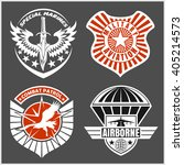 Military airforce patch set - armed forces badges and labels logo. Vector set. - stock vector