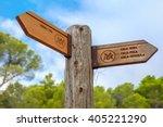 Small photo of Signpost of hiking trails to Tossa de Mar, Cala Pola, Cala Bona and Cala Zhiverola, Costa Brava, Spain