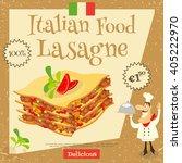 italian food   lasagne. cover... | Shutterstock .eps vector #405222970