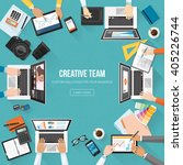 creative team working in the... | Shutterstock .eps vector #405226744