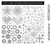 big set of line stars  sun ... | Shutterstock .eps vector #405236014