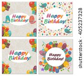 Set Of Birthday Card With Cute...