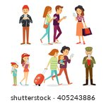 street style people with gadgets | Shutterstock .eps vector #405243886