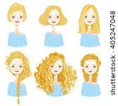 set of six cute blonde girl... | Shutterstock .eps vector #405247048