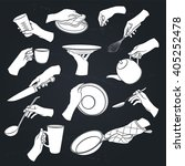 cooking hands icons on... | Shutterstock .eps vector #405252478