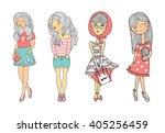 vector cartoon girls... | Shutterstock .eps vector #405256459