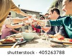 group of friends toasting wine... | Shutterstock . vector #405263788