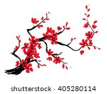 Branch Of Red Sakura With...
