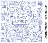 back to school doodle set.... | Shutterstock .eps vector #405280834