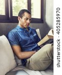 man reading book concentration... | Shutterstock . vector #405285970