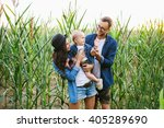 young hipster family with cute... | Shutterstock . vector #405289690