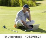 man using a laptop and mobile... | Shutterstock . vector #405295624