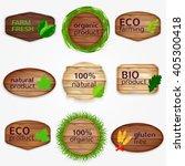 wooden eco labels   badges ... | Shutterstock .eps vector #405300418