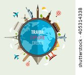 travel composition with famous... | Shutterstock .eps vector #405314338