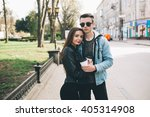 youth and fashionable couple on ... | Shutterstock . vector #405314908