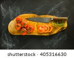 tomatoes on wooden board with... | Shutterstock . vector #405316630