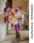 purple  peach and white wedding ...   Shutterstock . vector #405326683