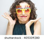 young happy woman with big... | Shutterstock . vector #405339280