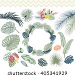 wedding graphic set with palm... | Shutterstock .eps vector #405341929
