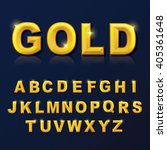 alphabet gold color style set