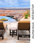 infinity pool and patio lounge... | Shutterstock . vector #405363769