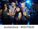 young friends dancing... | Shutterstock . vector #405373630
