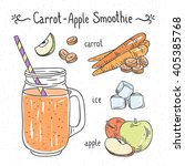 smoothie with carrot and apple. ... | Shutterstock .eps vector #405385768