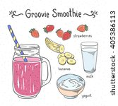 groovy smoothie fruit drink.... | Shutterstock .eps vector #405386113