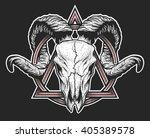 ram skull with a geometric...