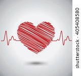heartbeat with heart shape and... | Shutterstock .eps vector #405408580