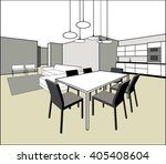 general room interior with a... | Shutterstock .eps vector #405408604