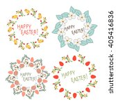 easter. frame with flowers ... | Shutterstock .eps vector #405416836