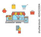 online shopping communication | Shutterstock .eps vector #405423304