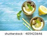 iced lemon tea in a mason jar...
