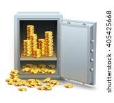 safe full of gold coins money... | Shutterstock .eps vector #405425668