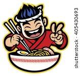 japanese cartoon chef eating... | Shutterstock .eps vector #405430693