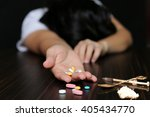 women drug addiction overdose... | Shutterstock . vector #405434770
