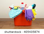 a bucket with detergent and... | Shutterstock . vector #405435874